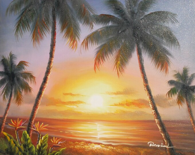 Sunset Painting Tropical Oil on Canvas Art Hawaii Wall Art Decor