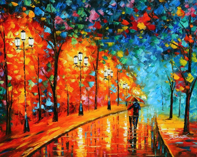 Romantic Art Park Couple Painting Pallet Knife  Oil on Canvas Wall Art Beautiful Decor
