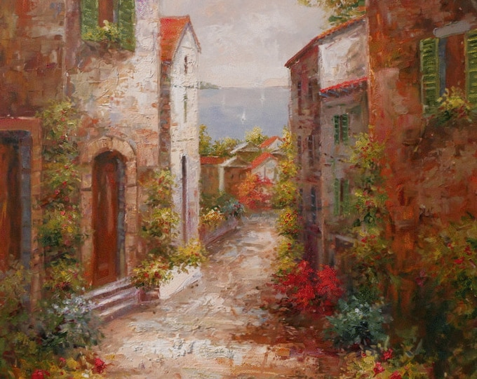 Italian Tuscan Art Mediterranean Painting Village Style Oil on Canvas  Wall Art Beautiful Decor