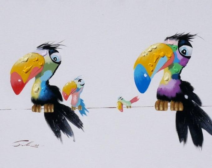Modern Bird Painting Whimsical Parrot Birds Oil on Canvas Wall Art Beautiful Decor