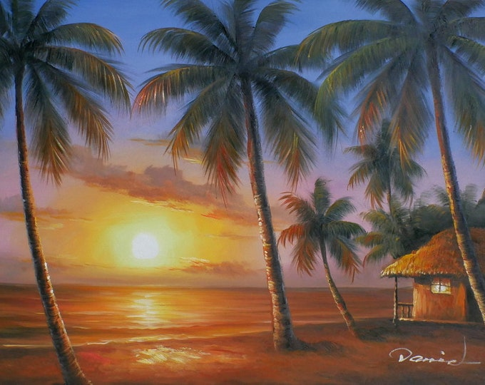Tropical Sunset OIl Painting Canvas Art Wall Decor of Maui Hawaii
