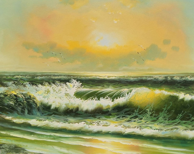 Sunset Ocean Painting Oil on Canvas Art Coastal Wall Decor