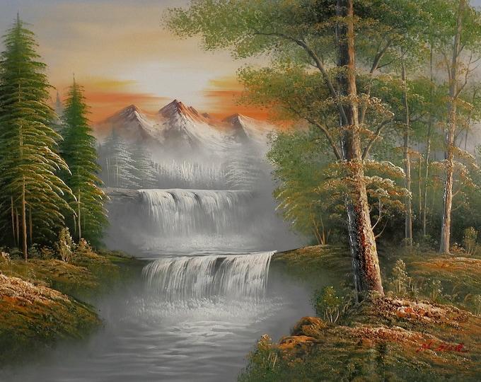 Sierra Mountains Oil Painting Mountain Stream Decor Nature Scene