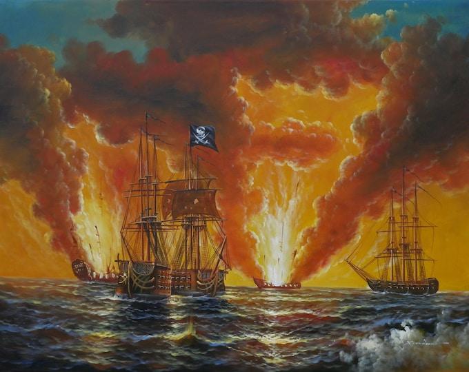 Pirates Art Open Ocean Battleships Painting Dark Sky Oil on Canvas Wall Art Beautiful Decor