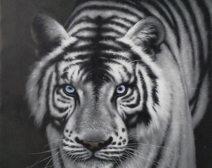 White Tiger Art Animal Oil Painting Wall Decor Hand Made on Canvas