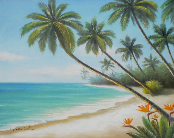 Ocean Painting Tropical Oil on Canvas Art Hawaii Wall Art Decor