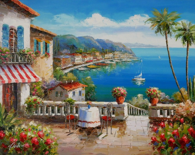 Italian Art Mediterranean Painting Handmade Oil on Canvas  Wall Art Beautiful Decor