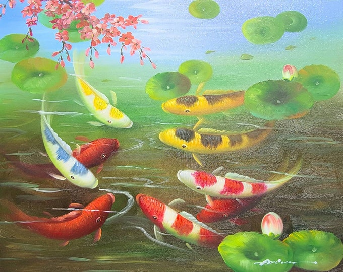 Koi Pond Art Cherry Blossoms Painting Koi Fish Oil on Canvas Lily Pads Wall Art Beautiful Decor