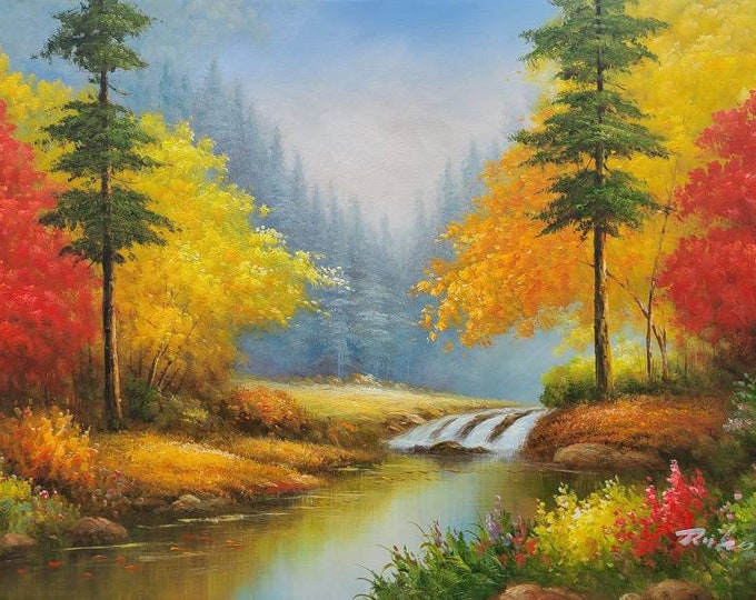 fall trees oil painting bright color decor nature scene