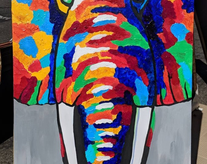 Abstract Elephant Oil Painting on Canvas Wall Art Beautiful Decor