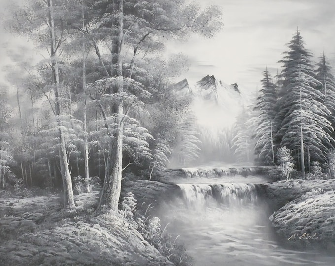 Sierra Mountains Oil Painting Black and White Decor Nature Scene