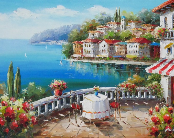 Amalfi Coast Oil Painting Mediterranean Art Oil on Canvas Wall Art Beautiful Decor