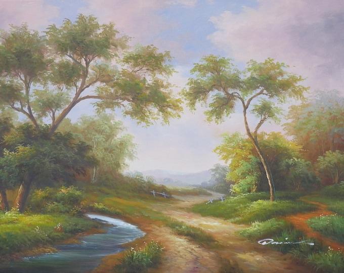 Early California Landscape Art Tree Painting Handmade Oil on Canvas Wall Art Beautiful Decor 36x48