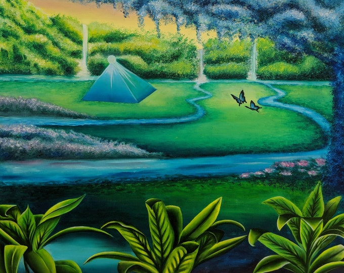 Tropical Fantasy OIl Painting Butterfly Canvas Art Waterfall Wall Decor