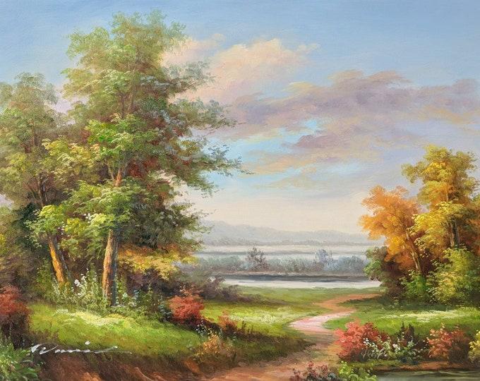 Landscape Art Tree Painting Handmade Oil on Canvas Wall Art Beautiful Decor