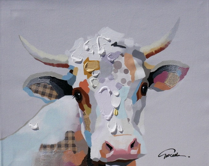 Cow Painting Whimsical Oil on Canvas Modern Wall Art Beautiful Decor