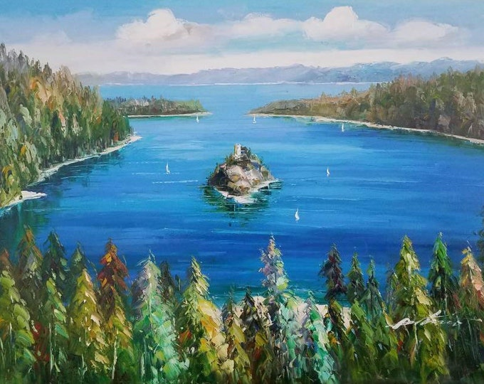 Lake Tahoe Oil Emerald Bay Trees Oil Painting Sierra Mountain Decor Nature Scene