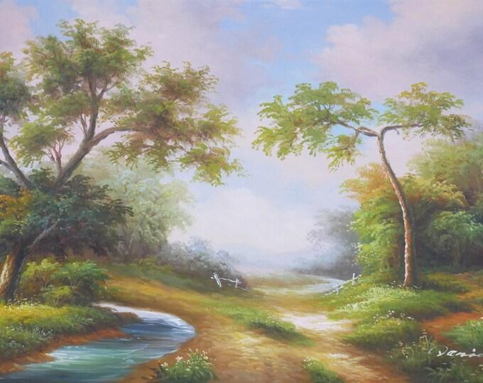 Early California Landscape Art Tree Painting Handmade Oil on Canvas Wall Art Beautiful Decor