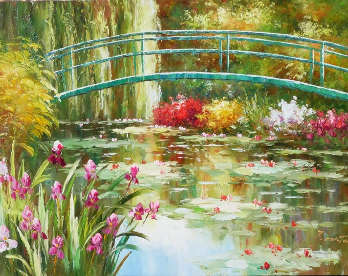 Lily Pond Lake Art Landscape Painting Handmade Oil on Canvas Wall Art Beautiful Decor