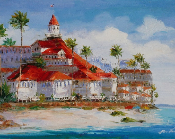 Hotel Del Coronado Oil Painting San Diego Art Oil on Canvas Wall Art Beautiful Decor