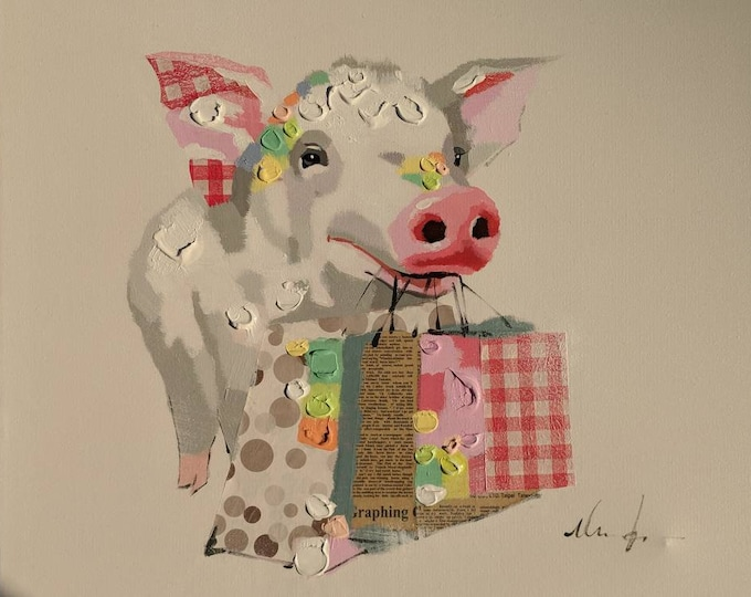 Pig Shopping Painting Whimsical Oil on Canvas Modern Wall Art Beautiful Decor