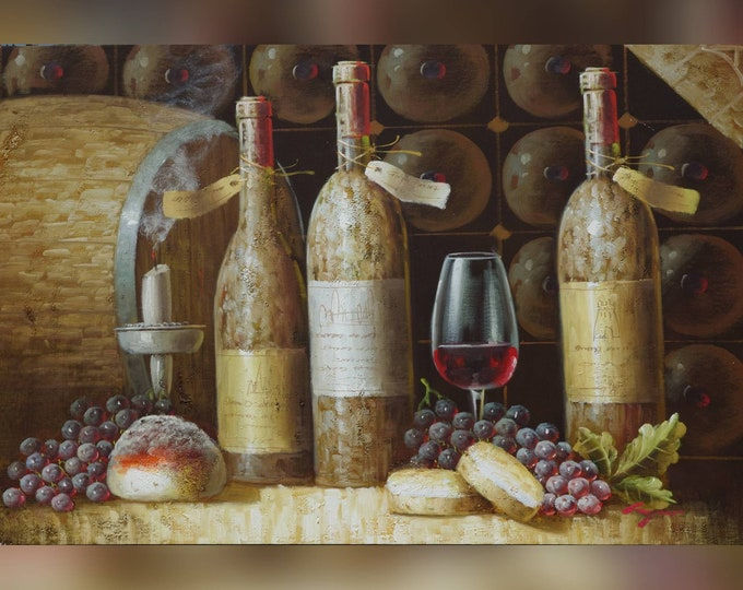 Wine Bottle Painting Wine Barrel Oil on Canvas Wall Art Beautiful Decor