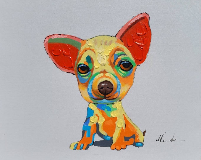 Puppy Painting Wimsical Chihuahua Dog Oil on Canvas Wall Art Beautiful Decor