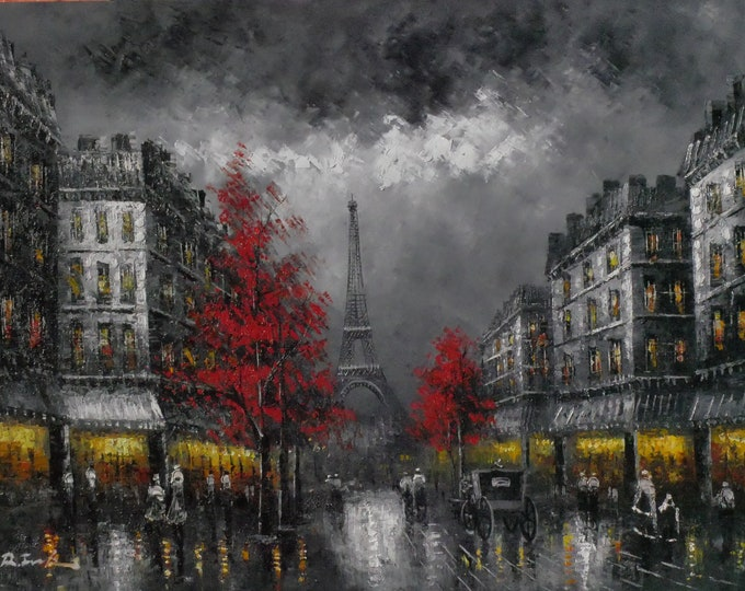 Black and White Paris Art Eiffel Tower Painting Oil on Canvas Wall Art Beautiful Decor