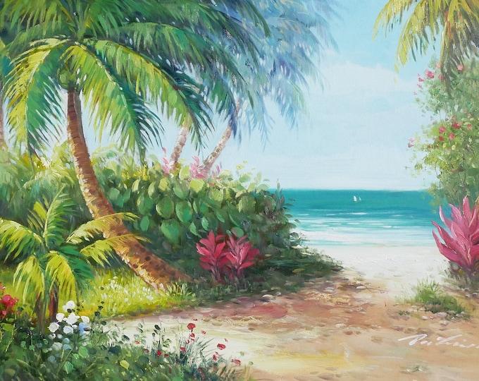 Tropical Beach OIl Painting Canvas Art Wall Decor of Maui Hawaii