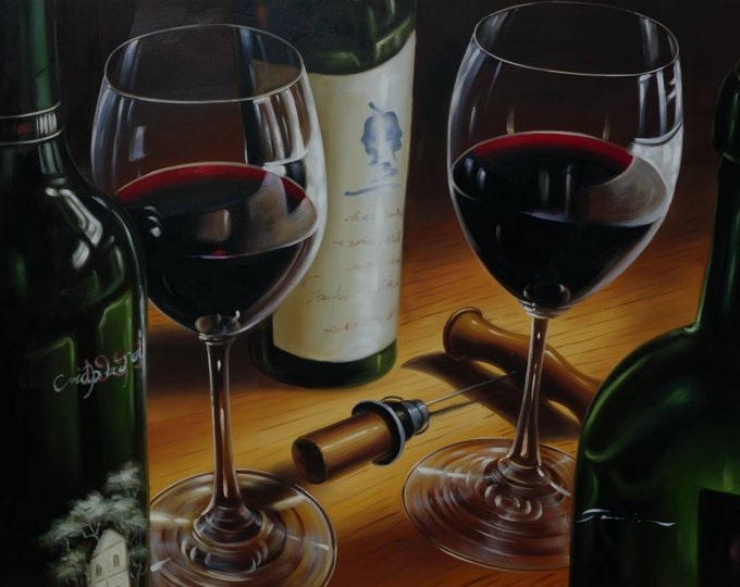 Wine Painting Napa Winery Oil on Canvas California Wine Wall Art Beautiful Decor