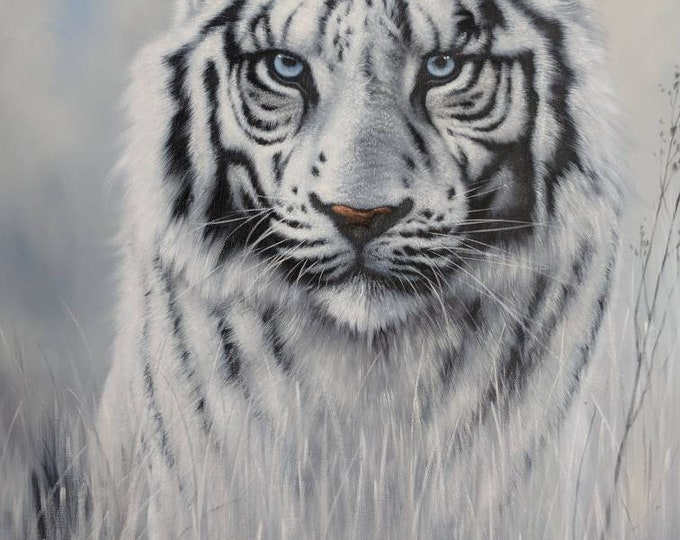 White Tiger Art Animal Oil Painting Wall Decor Hand Made on Canvas 36x24