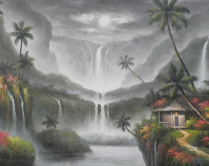 Waterfall Painting Oil on Canvas Wall Art Beautiful Decor of Hawaii