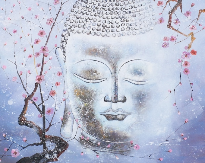 Buddha Art Spiritual Painting Flowers Oil on Canvas Wall Art Beautiful Decor