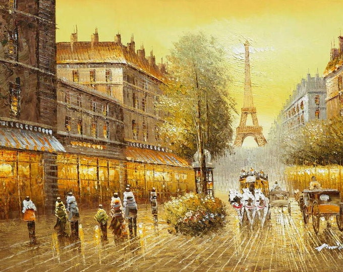 Paris Art Eiffel Tower Painting Handmade Oil on Canvas Wall Art Beautiful Decor