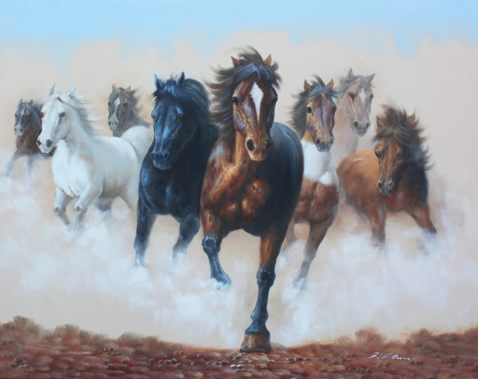 Running Horses Painting Art Handmade Oil on Canvas Wall Art Beautiful Decor Running Horses
