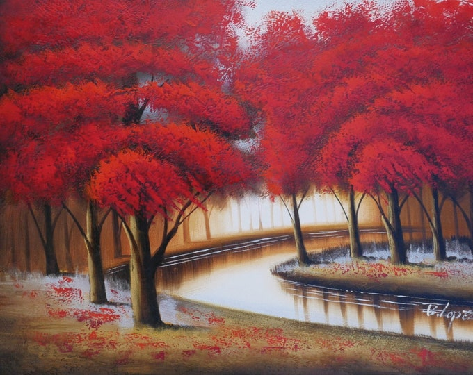 Red Tree River Landscape Art Oil Painting on Canvas Wall Art Beautiful Decor