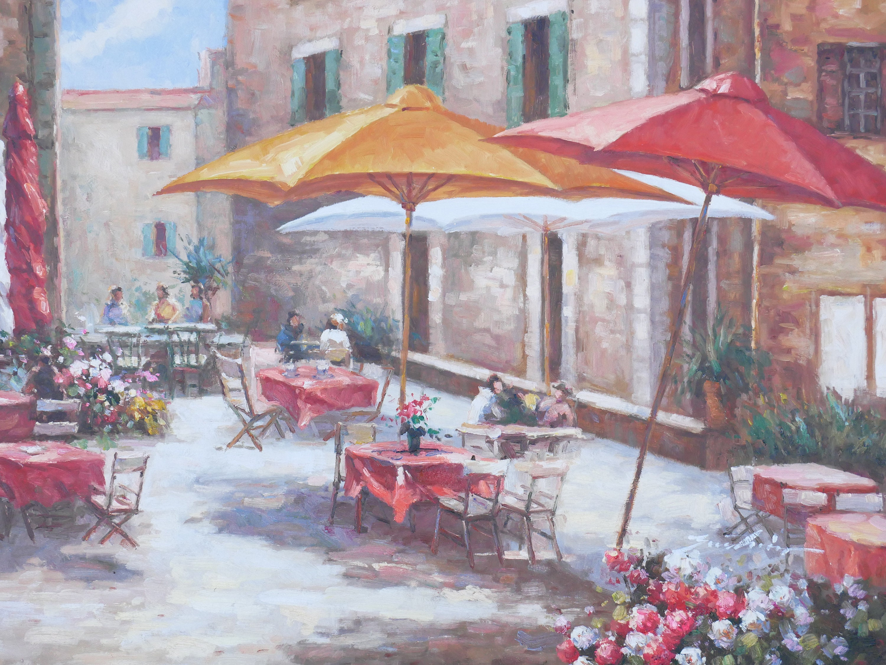 Wonderful Tuscan Cafe Art Mediterranean Painting Village Style Oil On Canvas Wall Art  Beautiful Decor