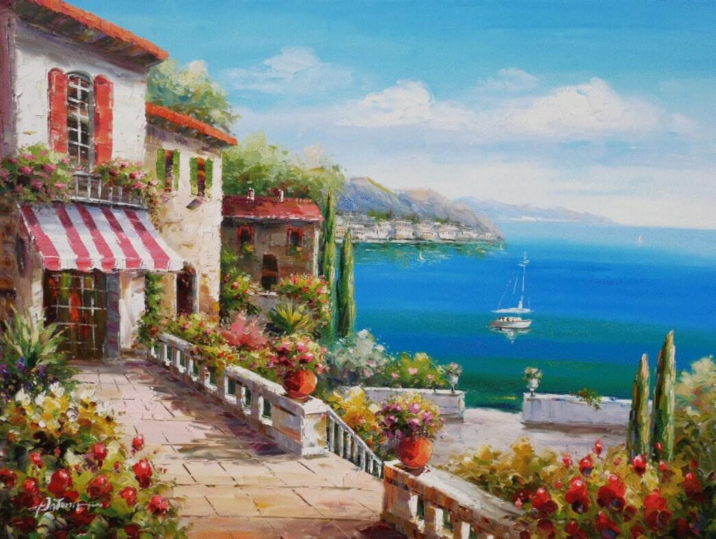 Coastal Italy Art Mediterranean Painting Handmade Oil On Canvas Wall