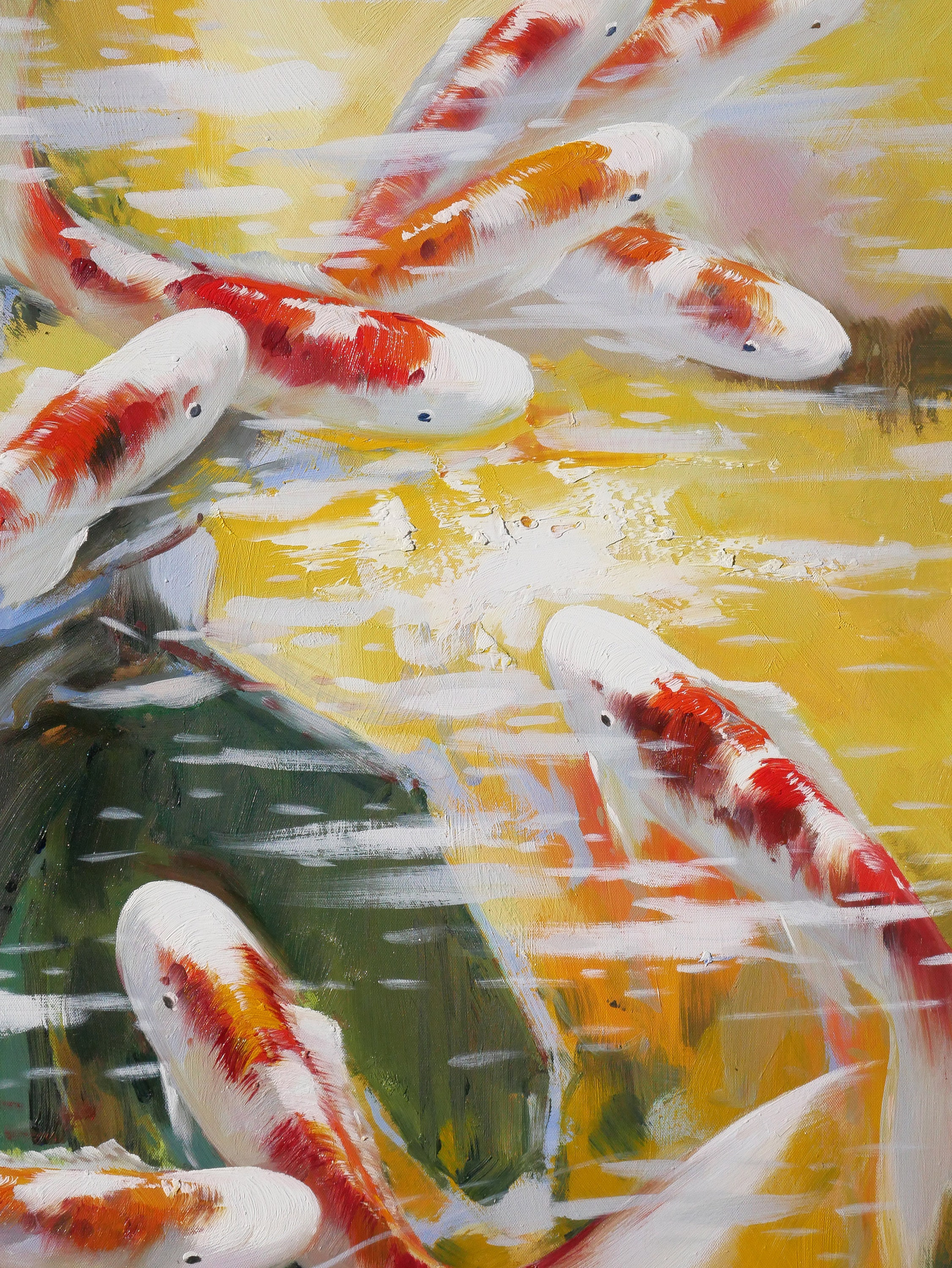 Abstract Koi Painting Asian Oil on Canvas Wall Art Beautiful Decor