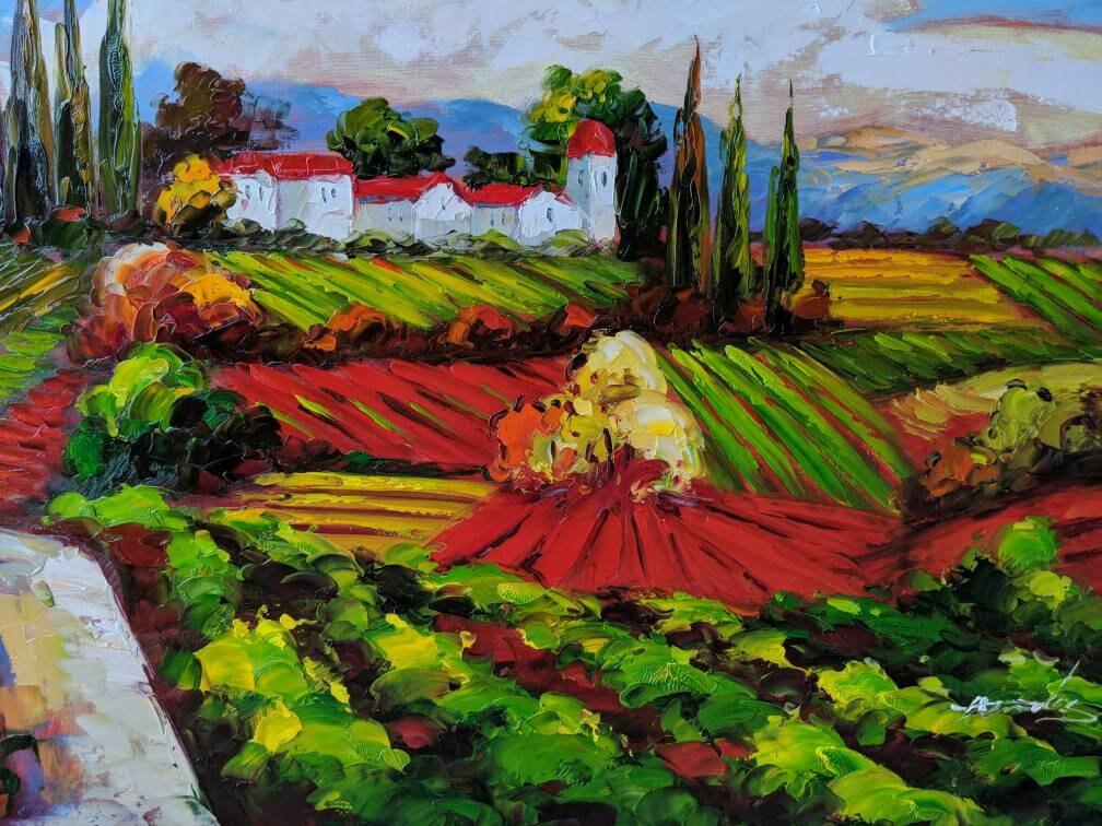 Tuscan Vineyard Art Mediterranean Painting Oil on Canvas Wall Art ...