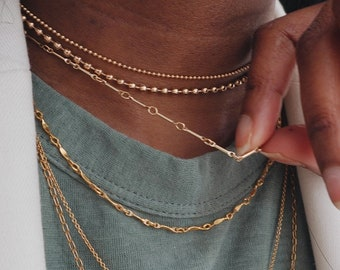 Gold filled bar chain necklace for women,Gold chain choker necklace,Gold layering necklace,Simple classic necklace, Dainty gold necklace