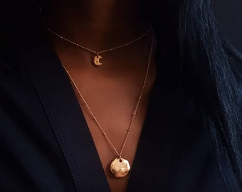 Gold moon necklace set,tiny moon necklace,satellite chain,crescent moon necklace,dainty gold choker,14k gold chain for Mother's day gift