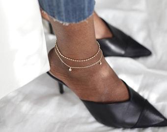 Dainty Gold Filled Ball Chain Anklet, Delicate Gold Stacking Anklet Bracelet, Christmas Stocking Filler Gift For Mom, Gold Layering Anklet
