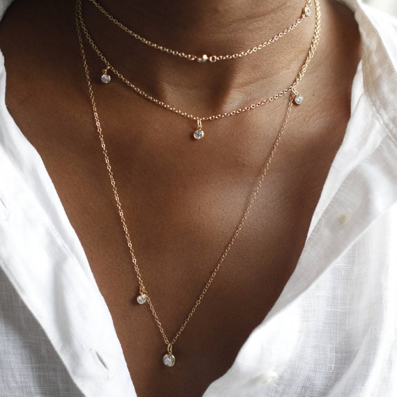 Delicate Gold Charm Tiny Gold Charms Alternative Diamonds /& Minimalist Necklace Boho Cool Gifts