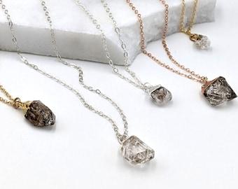 Electroformed Herkimer Diamond Necklace  Electroformed  Raw Crystal  Herkimer Diamond  Dainty  Copper