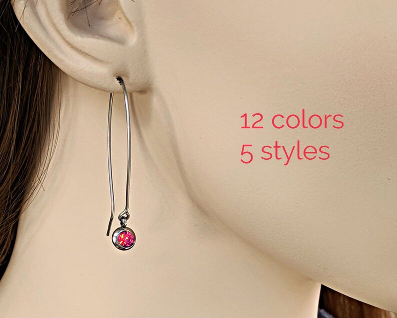 0071534c0709d Stainless steel earrings CZ ruby earrings July birthstone earrings drop  Surgical steel earrings dangle Hypoallergenic earrings Aunt gift BFF