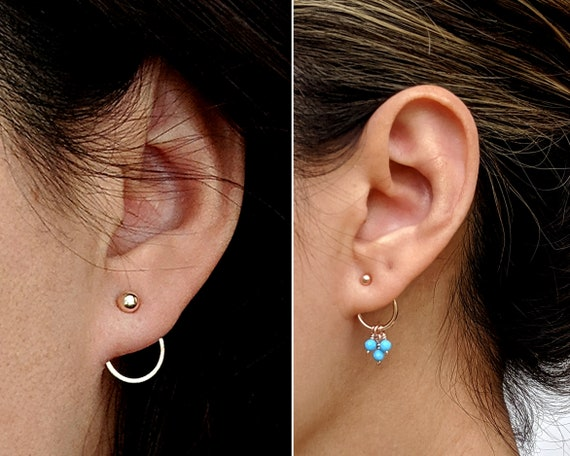 mix and match,interchangeable ear stud,double hoop earrings. Handmade 925 silver ear jacket,front and back earring sterling silver earring