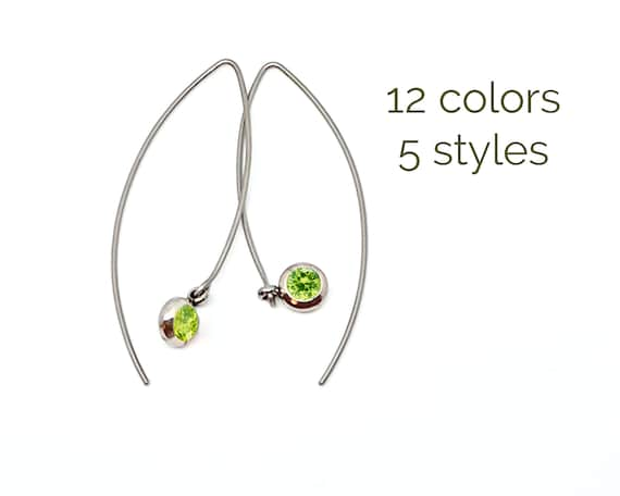 aea3899cb8584 CZ Peridot earrings Surgical steel earrings Stainless open hoop earrings  charm Hypoallergenic birthstone earrings 40th birthday gifts women