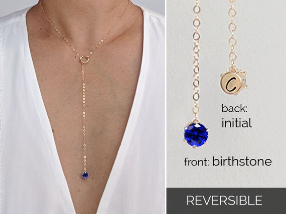 Sapphire necklace Gold lariat necklace Dainty necklace September birthstone necklace Initial necklace Silver Y necklace 5th anniversary gift