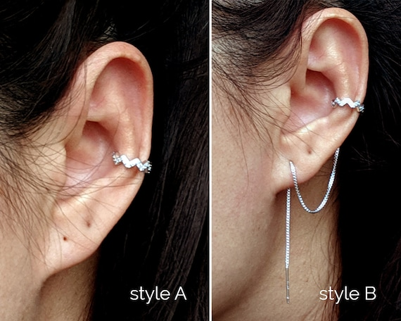925 Sterling Silver Ear Cuff Non Pierced Earring Conch Fake Nose Ring Twist Rope